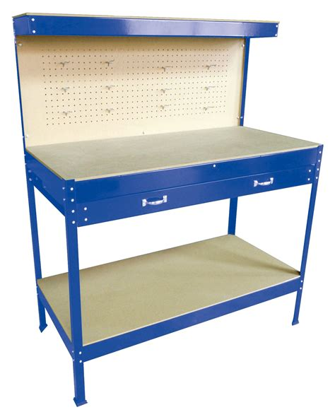 blue steel tools box workbench garage workshop table