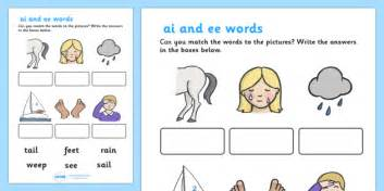 ai  ee sounds matching activity worksheet ai ee