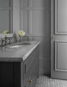 All gray bathroom transitional bathroom for Best brand of paint for kitchen cabinets with bathroom wall art sets