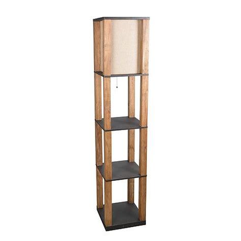 natural wooden floor lamp  black shelves rc willey