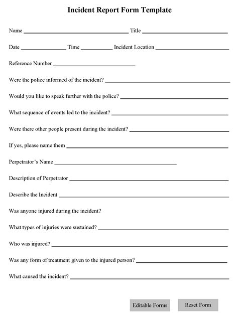 report form template incident report form template editable forms