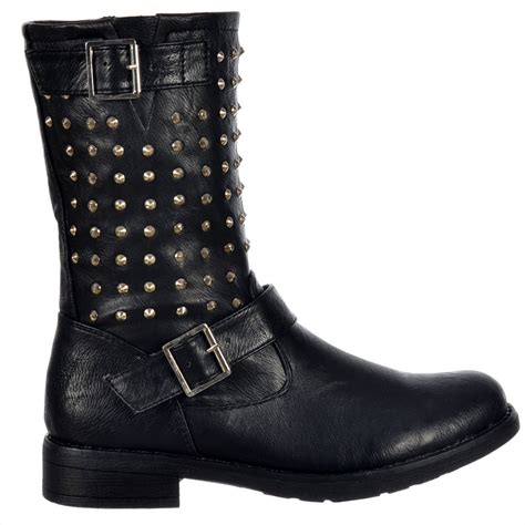 biker ankle boots shoekandi buckled biker ankle boot studded black