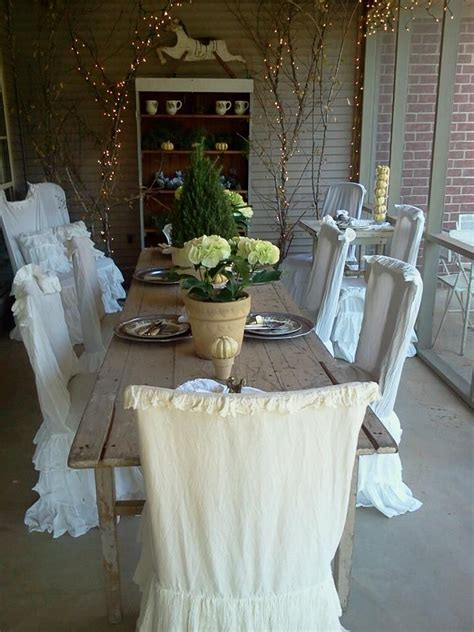shabby chic dining chair slipcovers pin by p on dining areas