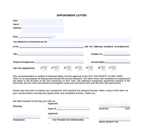 appointment letters templates samples