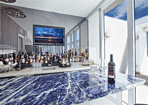beautiful bar with lapis blue as the front bar and a white