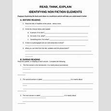 Identifying Non Fiction Elements Worksheet By Lisa Lake Tpt