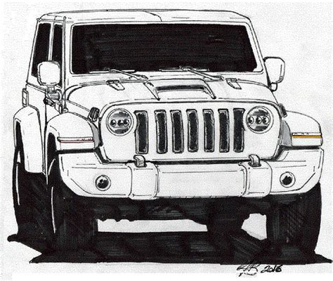 4 door jeep drawing 2018 jeep wrangler 2 door gets predictive sketch 2018
