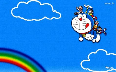 Flying Doraemon In Sky With Blue Background Hd Wallpaper
