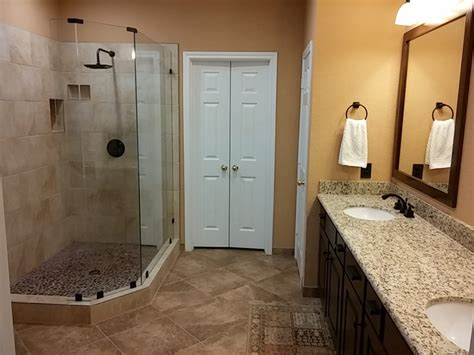 bathroom upgrades ideas master bathroom upgrade adds a walk in shower trifection