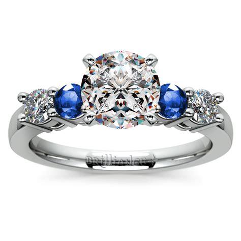 diamond sapphire gemstone engagement ring  white