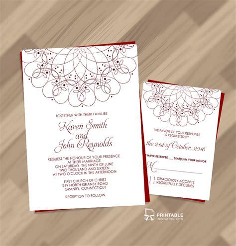 FreeSpiral Ornament Border Wedding Invitation and