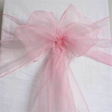 100 pink organza chair sashes light pink baby pink