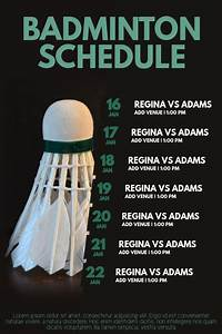 badminton, tournament, schedule, poster, flyer, template