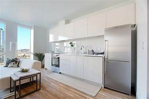 Studio apartment design tips and ideas for Kitchen colors with white cabinets with nyc skyline wall art