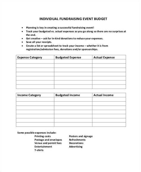 fundraising budget templates  sample