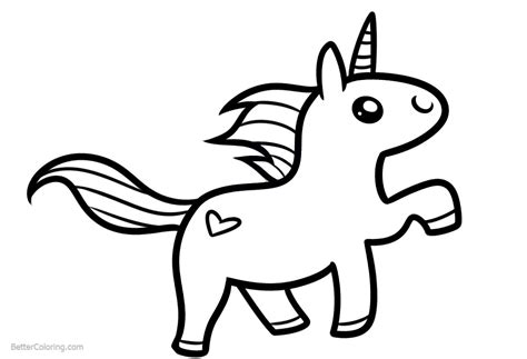 chibi unicorn coloring pages easy clipart  printable