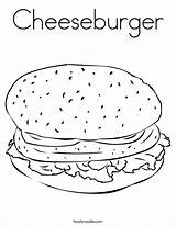 Coloring Cheeseburger Pages Burger Hamburger Mcdonalds Hungry Printable French Hamburguesa Fries Outline Keju Cursive Junk Favorites Noodle Twistynoodle Built California sketch template