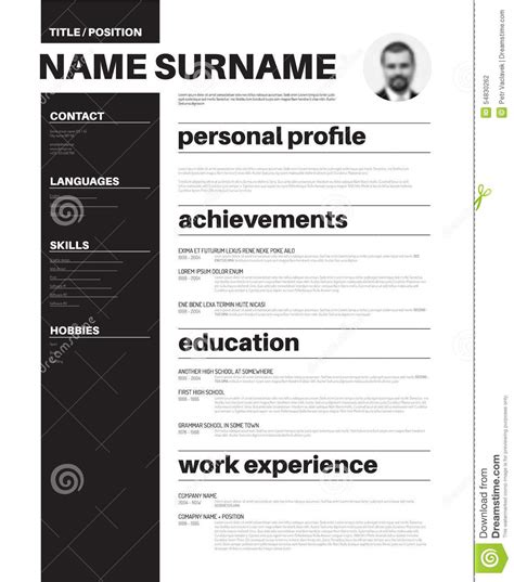 cv resume template with typography stock