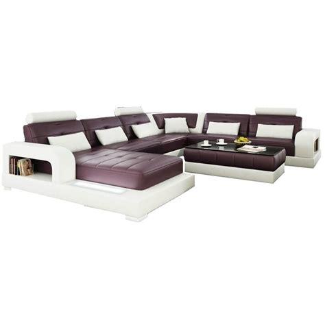 canapé u canapé d 39 angle panoramique en cuir salerno éclairages