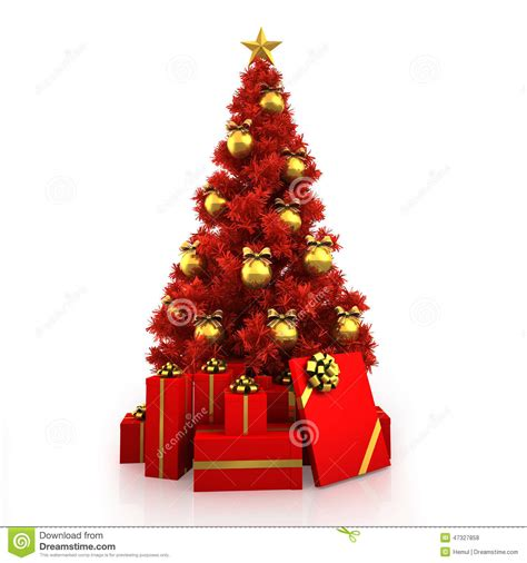 193 rbol de navidad rojo con la decoraci 243 n del oro en el