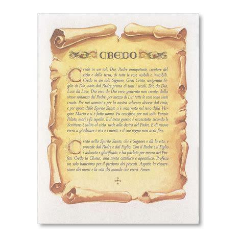 Preghiera Credo Testo by Pergamena Cresima Preghiera Credo Vendita Su
