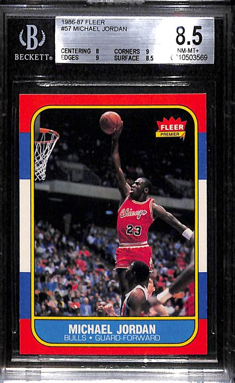 Jordan's rookie baseball card sees record prices. Lot Detail - 1986-87 Fleer Michael Jordan Rookie Card (#57) - Graded BGS 8.5 NM-Mint+