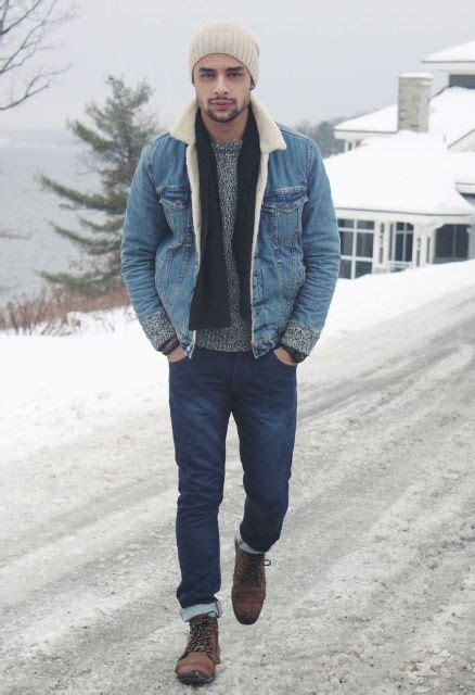Picture Of With gray sweater black scarf beige beanie jeans and brown boots