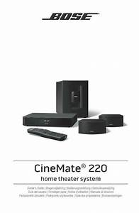 Bose Cinemate 220 Home Theater System Owners Guide Manual