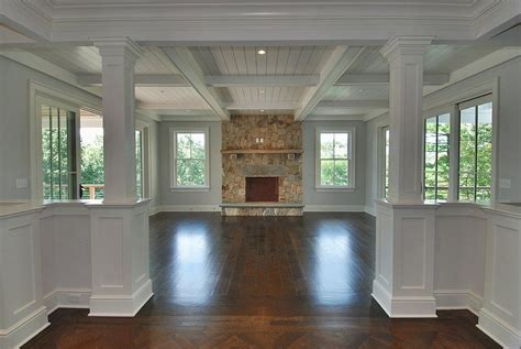 coffered ceiling  flooring transition hh   home home family room addition