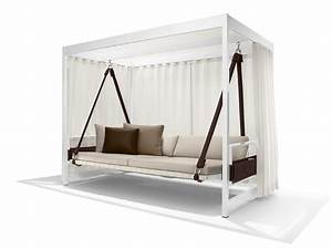 Modern White Stained Wooden Canopy Swing Day Bed With