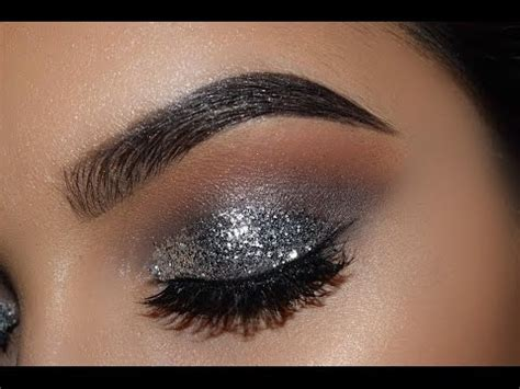 silver glitter eyes   tutorial  youtube