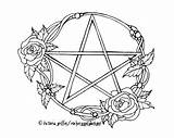 Pagan Coloring Wiccan Wicca Pentacle Pages Printable Tattoo Drawing Adult Pentagram Colouring Witch Tattoos Books Drawings Zoom Adults Witchcraft Template sketch template