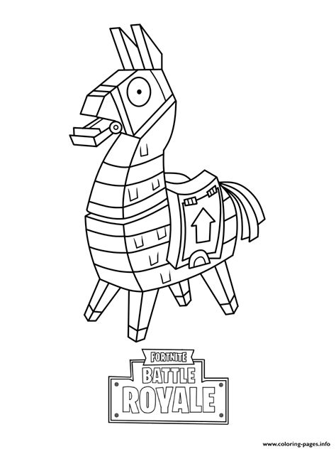 Coloring Skin by Mini Fortnite Lama Skin Coloring Pages Printable