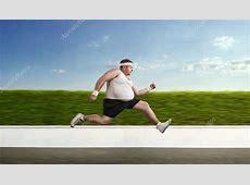 lustige übergewichtige Sportler auf der Flucht — Stockfoto