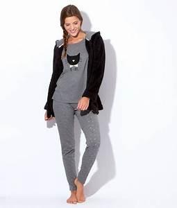 pyjama 3 pieces veste polaire pantalon noeuds top chat With robe etam 2017