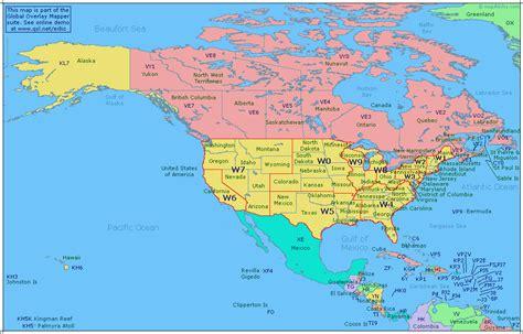 amateur radio prefix map  north america