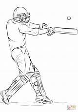 Cricket Coloring Drawing Player Pages Draw Bat Sports Easy Playing Sport Printable Outline Sketch Drawings Football Print Games Step Printables sketch template