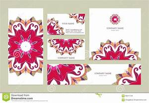 Set Business Card With Mandala Stock Vector - Image: 68211729