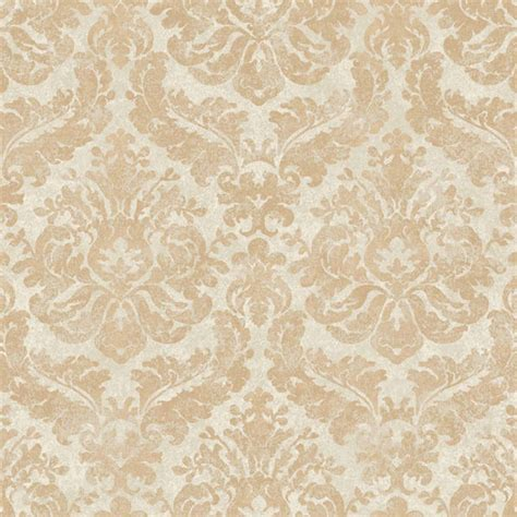 gold  cream feathery damask wallpaper