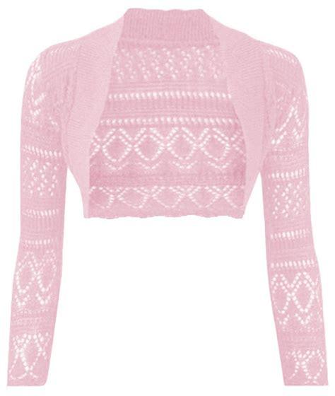 Thever Women Long Sleeve Knitted Crochet Shrug Bolero ...