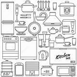 Oven Coloring Depositphotos Baixar Saucepan Appliances Icons sketch template