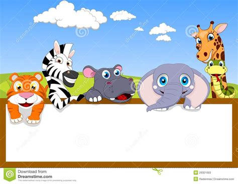 Zoo Animal With Wooden Sign Stock Vector