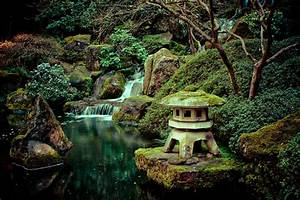Japanese Garden Lamp And Waterfall Photograph - Japanese ...