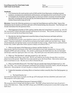 Great Depression  New Deal Study Guide Name Fifth Grade Social