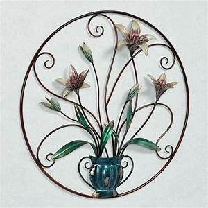 Garden lily floral metal wall art