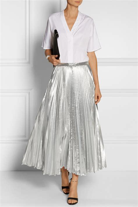 Lyst Dkny Pleated Metallic Taffeta Midi Skirt In Metallic