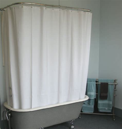 wide shower curtain for a clawfoot tub white with