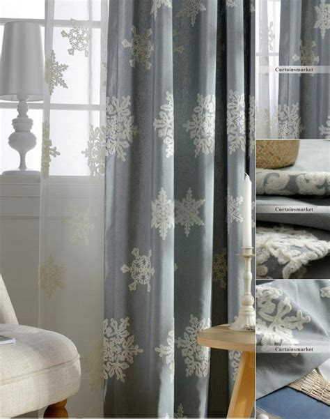 good fabric   curtains  christmas snow flower