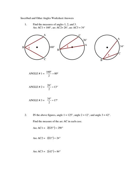 12 best images of circle arcs and angles worksheets
