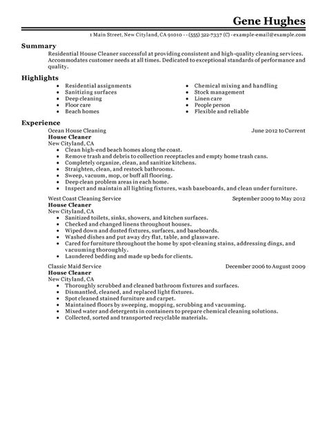 House Cleaner Resume Template by Best Residential House Cleaner Resume Exle Livecareer